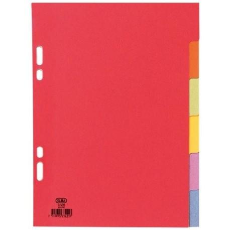 Intercalaire 6 onglets A5 petit format (17x22) en carton