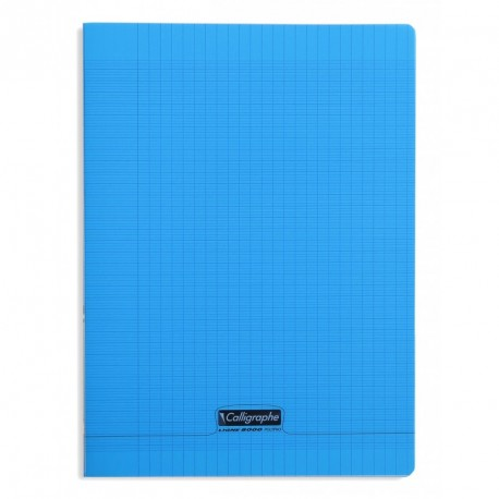 Cahier polypro Calligraphe format A4 21x29,7 192p grands carreaux (séyès) - bleu