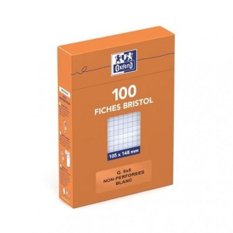 Feuille bristol 210gr non perforées 105x148 petits carreaux (5/5) Blanc