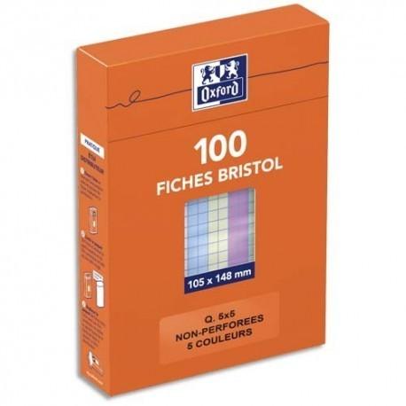 Feuille bristol 210gr non perforées 105x148 petits carreaux (5/5) assortis