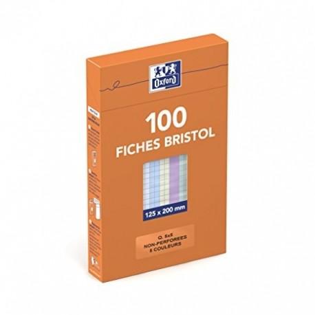 Feuille bristol 210gr non perforées 125x200 petits carreaux (5/5) assortis