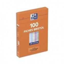 Feuille bristol 210gr non perforées 148x210 petits carreaux (5/5) assortis