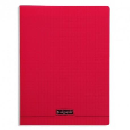 Cahier polypro Calligraphe format A4 21x29,7 192p grands carreaux (séyès) - rouge